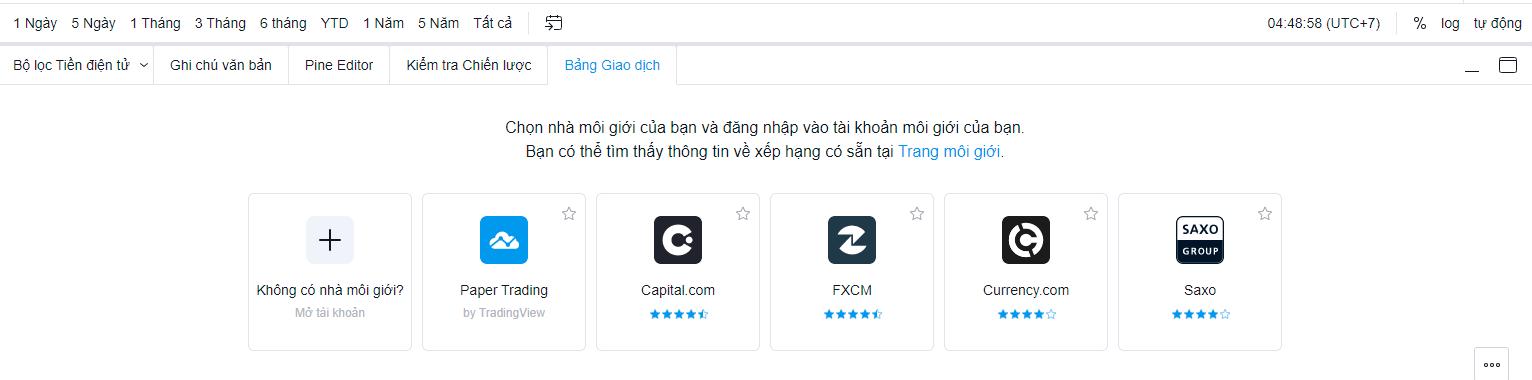 Mở tài khoản demo giao dịch trên tradingview