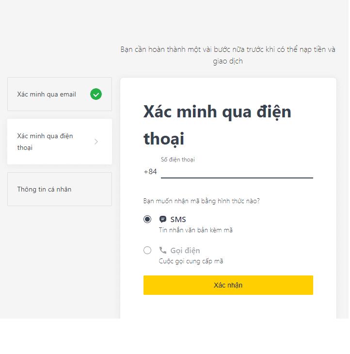 Xác minh số điện thoại đăng kí tài khoản Exness
