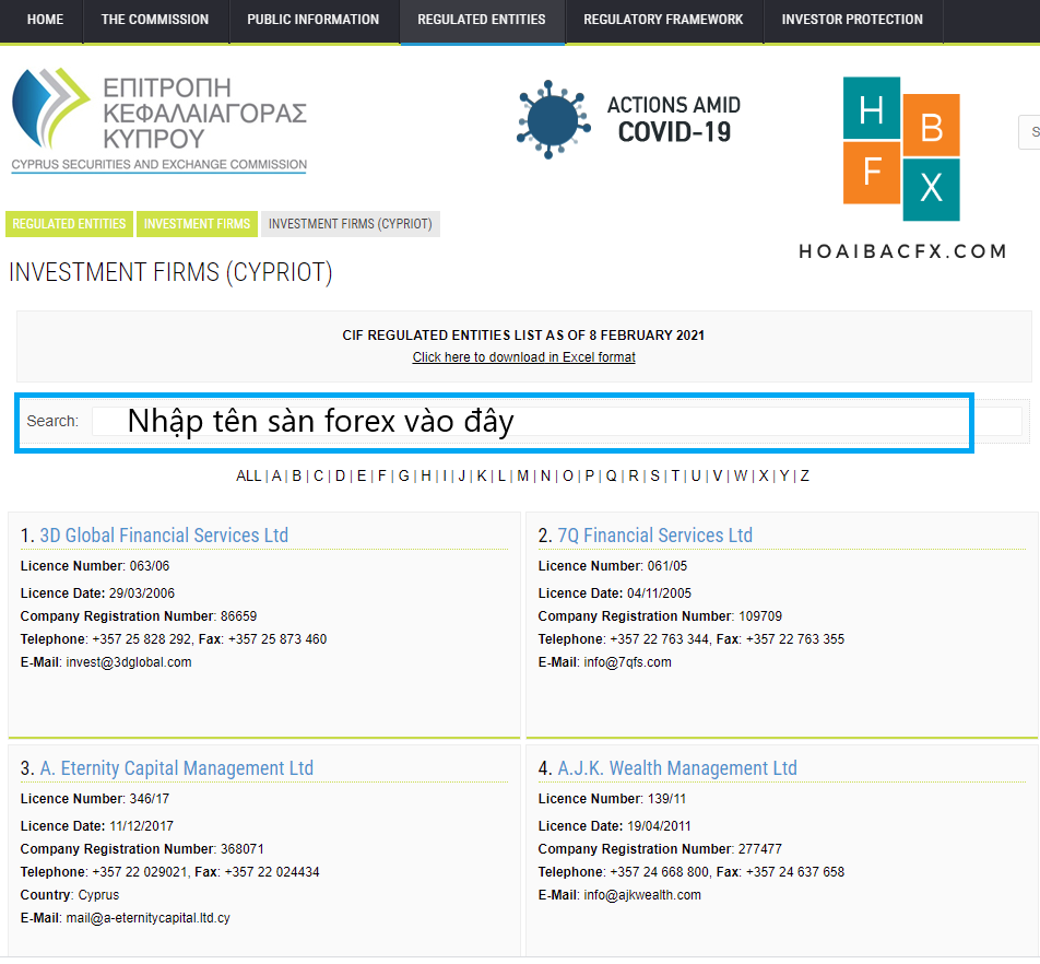 cách kiểm tra giấy phép CySEC sàn forex