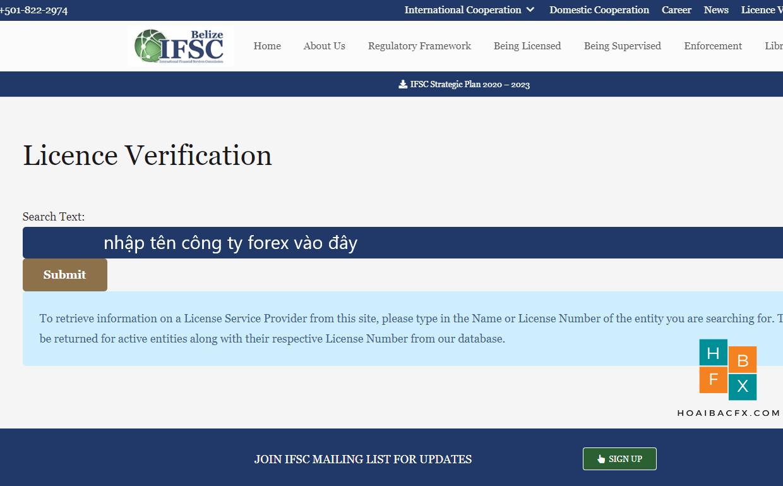 Cách tra cứu giấy phép IFSC sàn forex