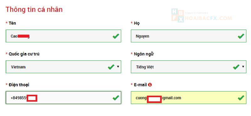 cách đăng ký tài khoản XM - bước 2