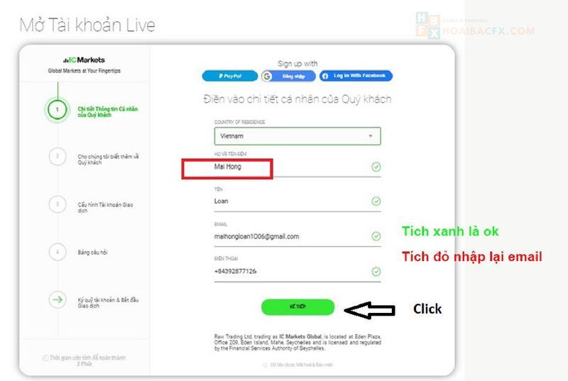 đăng ký tài khoản ICMarkets - bước 3
