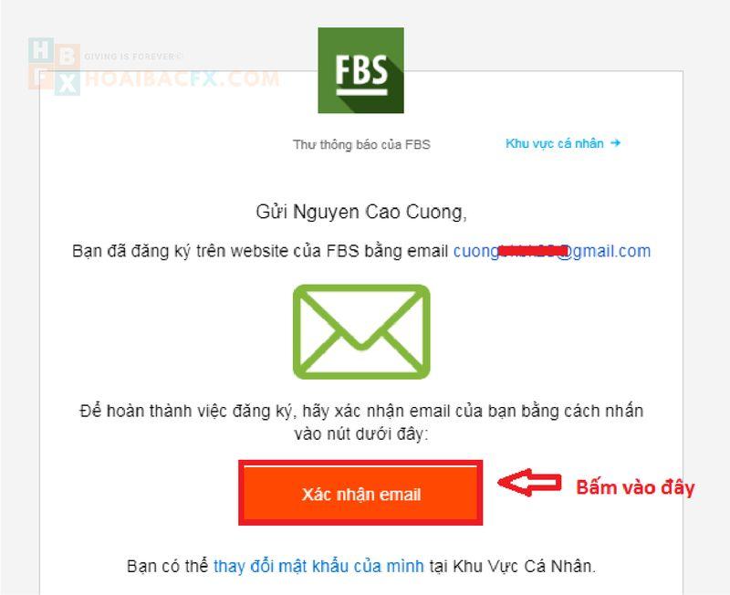 email xác nhận đăng kí tài khoản fbs