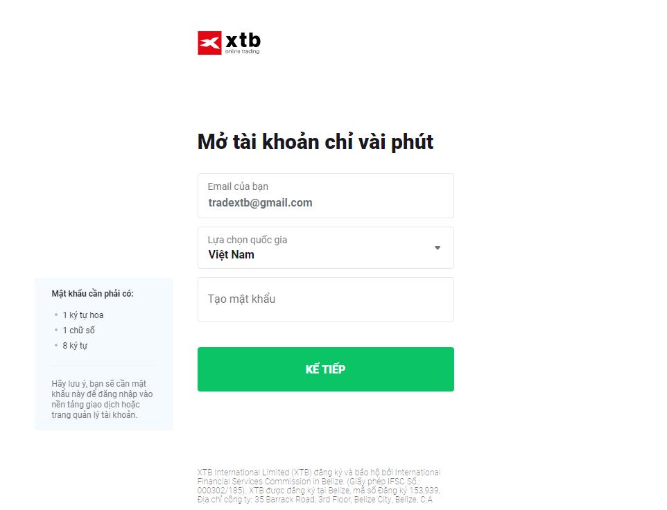 Tạo mật khẩu tài khoản sàn XTB