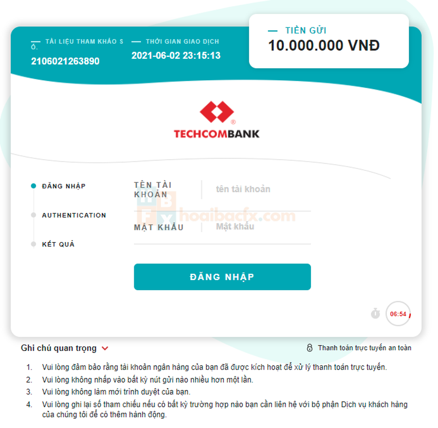 giao diện internetbanking nạp tiền