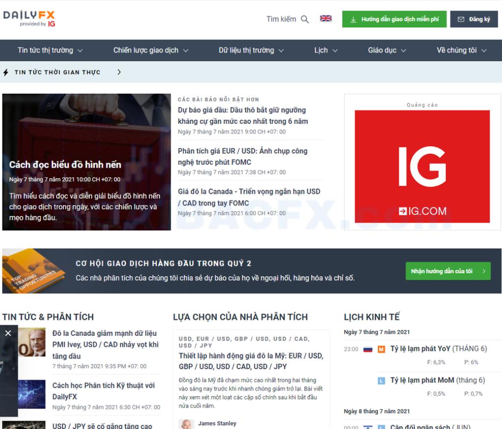 Trang web tin tức forex DailyFX